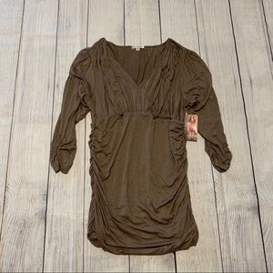 Kiyonna Betsey Ruched Taupe Bodycon Dress
